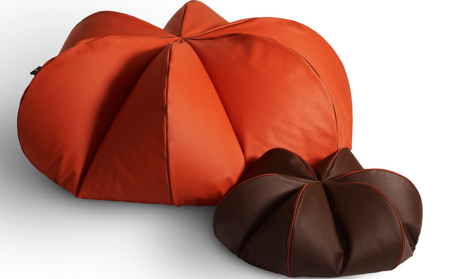 Leather Beanbags Oranger & Chocolat