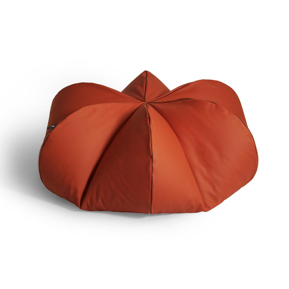 Leather Beanbag Oranger Mille Couleurs London